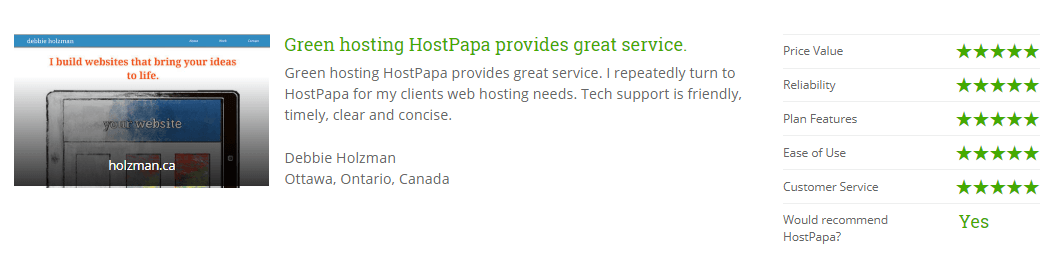 Hostpapa customer testimonial