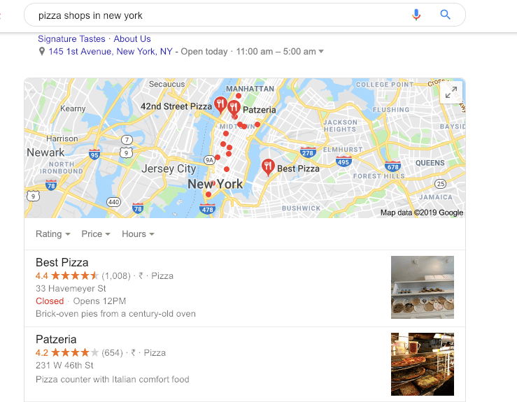 Google has organic search result