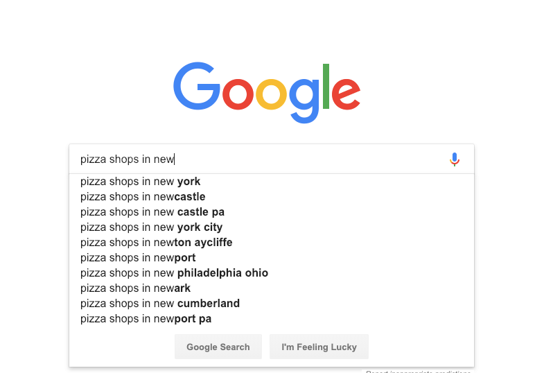 Use autocomplete to search for keywords