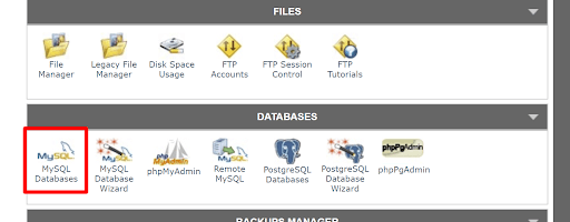Choose MySQL Databases to create a new database
