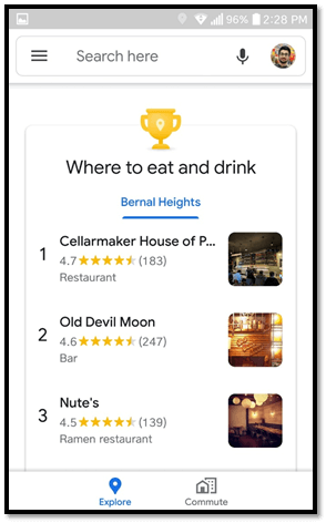 Google My Business is the place where people will look for a place to drink and eat