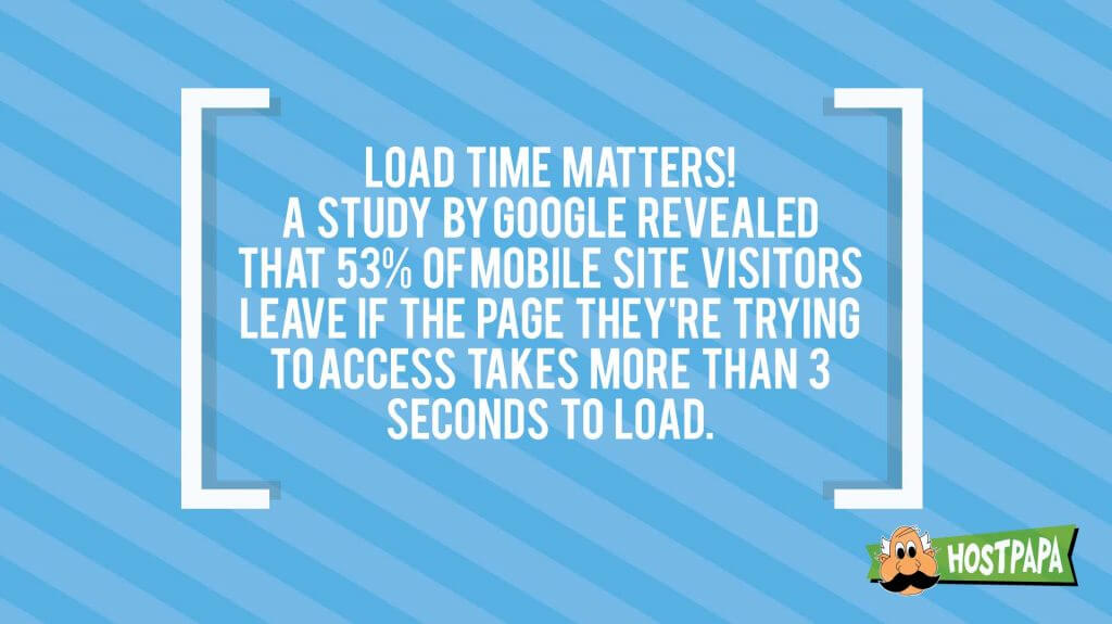 Load time matters! Make sure your web hosting offers a good loading speed