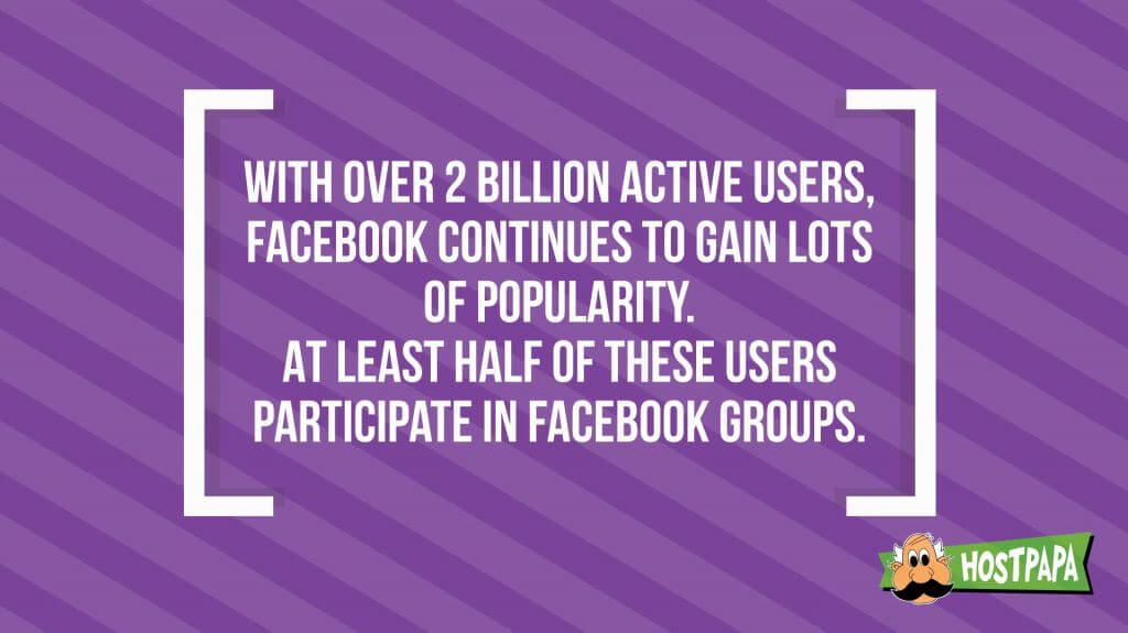 Facebook keeps getting popularity, and half of the users are part of a group