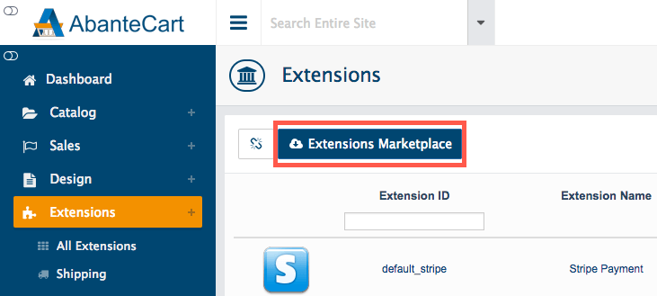 Extensions Marketplace button