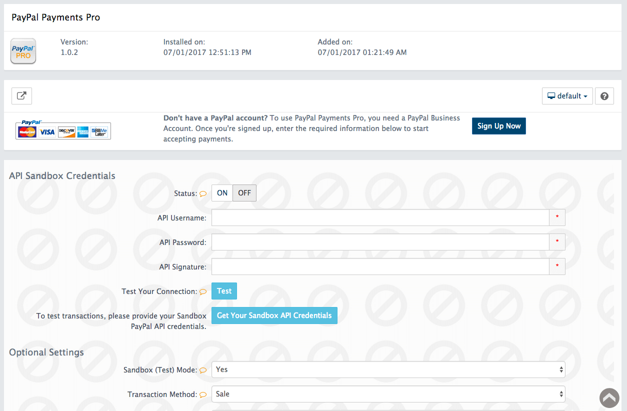 PayPal Payments Pro Configuration Page