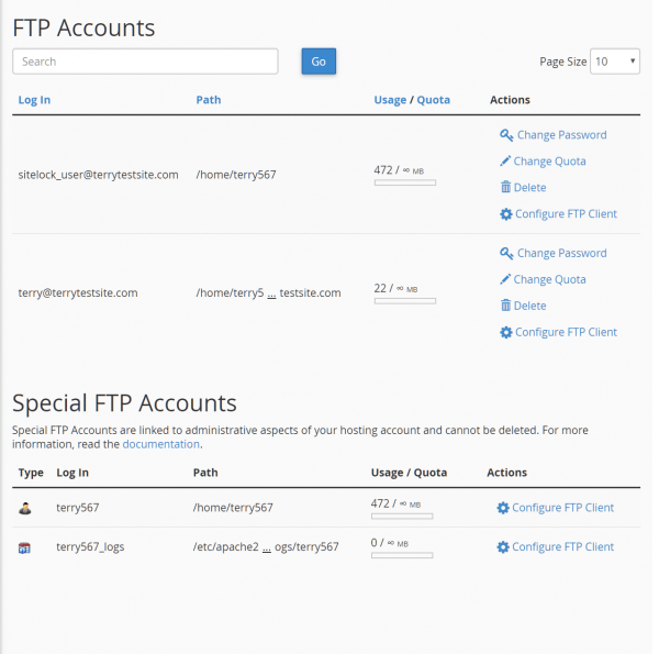 FTP account management