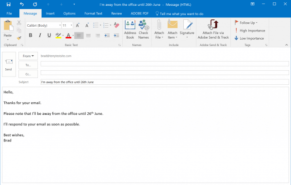 Outlook Template